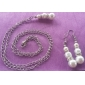 Bottle Shape Pearl Earrings with Necklace Suits