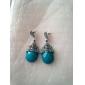 여성의 빈티지 물방울 모양 골동품 실버 귀걸이 (파란색)