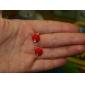 Brincos Curtos Imitação de Diamante Estilo bonito imitação de diamante Liga Maçãs Vermelho Verde Jóias Para Diário
