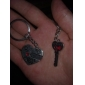 מחזיקי מפתחות חלד אוהבי צורת לב (2 חתיכות / סט)