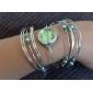 Analogt kvartsarmbåndsur i sølv/stål med perler (assorterte farger)