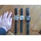 Oulm Hommes Montre Militaire Montre Bracelet Quartz Quartz Japonais Triple Fuseaux Horaires Cuir Bande Noir Noir Noir/blanc