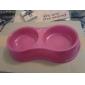 Plastic Mini Estilo Doble Tazón para gatos Perros (colores surtidos)