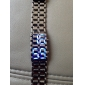 Unisex Blue LED Lava Style Black Steel Band Wrist Watch