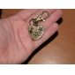 Unisex Heart-shaped Alloy Analog Quartz Keychain Watch (Bronze)