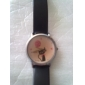 Women's Cartoon Cat Pattern Black PU Band Quartz Analog Wrist Watch