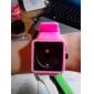 여성의 창조적 두 점 다이얼 실리콘 밴드 석영 아날로그 손목 시계 (핑크)