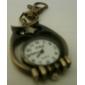 unisex de aleación de reloj de cuarzo analógico llavero con el hueco del búho (bronce)