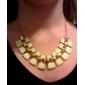 Women's Hollow Out Enamel Short Alloy Bib Necklaces