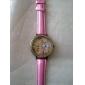 Women's 3D Flower Pattern Diamante Dial PU Band Quartz Analog Wrist Watch (Assorted Colors)