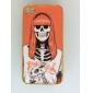 Orange Skull Pattern Pasting Skin Case for iPhone 4/4S