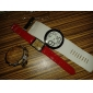 Women's Big Numbers Dial White PU Band Quartz Analog Wrist Watch