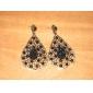 Hollow Water-Drop Style Retro Earrings for Women (Black)