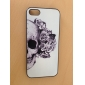 Skull with Rose Decorated Ear Pattern PC Hard Case with Black Frame for iPhone 5/5S
