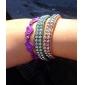 Lureme®Fashionable Double-row Bead Connected Bracelet (Assorted Colors)
