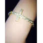 Crystal Sideways Cross Infinity Stretch Bracelet