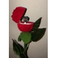 Lureme®Textile Made Long Rose Shaped Red Jewelry Box