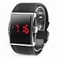 Uhr mit quadratischer LED Anzeige, Silber, Schwarzes Silikon Armband