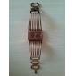 Vrouwen Metal Band Analoog Quartz armband horloge met Rolling Kralen Versiering (Golden)