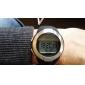 unisex pulsmätare silver ram svart silikonband digitala armbandsur med kaloriräknare