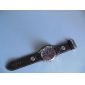 Unisex Brown Dial Wide PU Band Quartz Wrist Watch