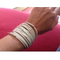 White Bracelet Multilayer Leather Metal Ring Wide Bracelet