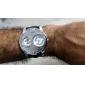 Men's Sports Style Silver Case Black Leather Band Quartz Wrist Watch