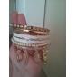 Lureme®Leather Pearl Heart Charm Stacking Bracelets 6 pcs/set