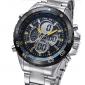 militaire analogique-numérique lcd écran noir visage argent Steel Band montre-bracelet des hommes weide® (couleurs assorties)