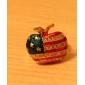 사과 모양에 미국 국기 문양이 있는 골드 도금 반지