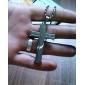 eruner®double kors silver bibel titan stål halsband