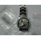 Men's Auto-Mechanical Fashion Hollow Dial Silver Steel Band Analog Wrist Watch