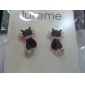 Lureme®Mysterious Little Black Cat Ear Studs