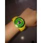 Football Cup Gift-Men's Brazil Flag Pattern Yellow Silicone Band Quartz Wrist Watch