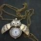 Collar Unisex con Reloj Analógico con Diseño de Búho (Bronce)