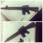 Machine Gun Shaped Black Ink Gel Pen Sign Pen (Black)