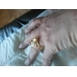Gift For Girlfriend European Champagne Cubic Zirconia Statement Rings(Gold)(1 Pc)