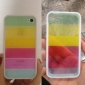Transparent Rainbow Style TPU Frame Hard Case with Screen Guard and Cleaning Cloth for iPhone 4/4S (Optional Colors)