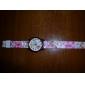 Женские Модные часы Кварцевый силиконовый Группа Цветы Розовый бренд-