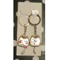 Cute Cat Shaped Metal Keychain, Pair