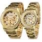 Masculino Mulheres Casal Relógio Elegante Quartzo Aço Inoxidável Banda Brilhante Luxuoso Dourada Dourado Branco