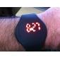 Orologio unisex, con quadrante LED digitale rosso, rotondo, cinturino di gomma (vari colori)