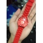 Women's Chrysanthemum Style Dial Silicone Band Quartz Analog Wrist Watch (Red)