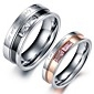 Couple Rings Crystal Stainless Steel Simulated Diamond Heart Jewelry Wedding Party Daily