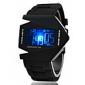 Unisex LED V-modell armbåndsur med silikonrem (svart)