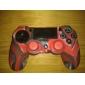 caisse de peau de silicone et 2 Pouce Rouge bâton Poignées pour PS4 (rouge + noir)