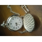 Men's Simple Cover Silver Alloy Quartz Analog Pocket Watch with Chain Cool Watch Unique Watch Fashion Watch
