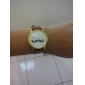 Moustache conception PU bande analogique à quartz de montre-bracelet de femmes (Brown)