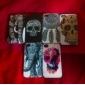 Kukka sisustettu Skull Värilliset piirustus Pattern musta runko PC Hard Case for iPhone 4/4S