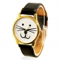 Women's Cat Face Design Casual PU Band Analog Quartz Wrist Watch(Black)